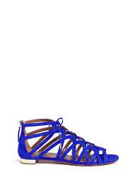 lyst aquazzura u0027ivy u0027 caged suede sandals in blue save 14