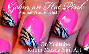 zebra print on pink nails neon animal nail art design