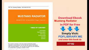 pdf mustang radiator d0wnlo4d video dailymotion