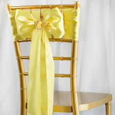 chair sashes 5pcs yellow satin chair sashes tie bows catering wedding party