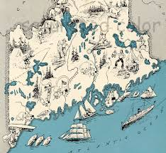 Map Maine Maine Vintage Map Map Art High Res Digital Image Of A
