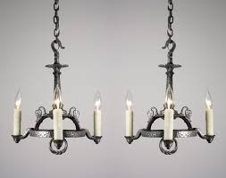 Spanish Revival Chandelier Two Matching Antique Spanish Revival Three Light Chandeliers Cast