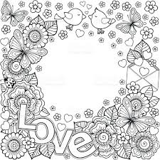 i love you vector abstract coloring book for design for
