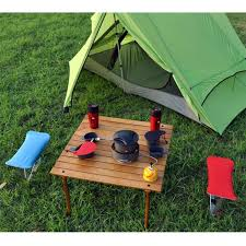Wood Camping Table Portable Patio Table With Brown Solid Wood Top And Carry Bag