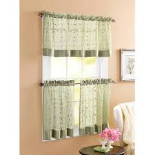Valances And Curtains Better Homes And Gardens Sage Linen Leaf 3 Piece Kitchen Curtains