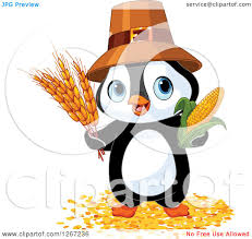 harvest thanksgiving service clipart of a cute thanksgiving pilgrim penguin with harvest wheat