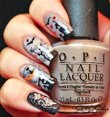 halloween monster nails cat on the moon watermarble glow in the dark halloween nail art