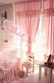 Ruffled Pink Curtains Korean Sweet Bows Curtain Princess French Window Ruffle Decoration