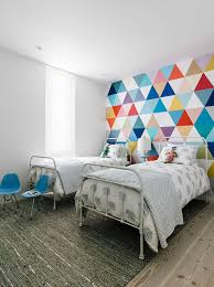 wallpaper kids bedrooms kids bedroom with colorful accent wallpaper and metal bed frames