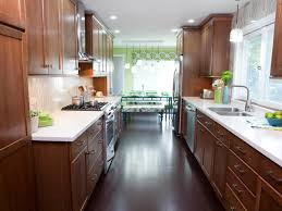 nice galley kitchen design with nice wooden cabinets and white