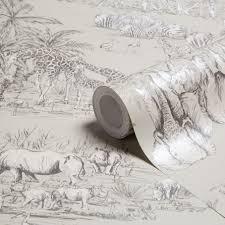 B Q Bedroom Wallpaper Colours Watering Hole Taupe Animal Safari Metallic Wallpaper