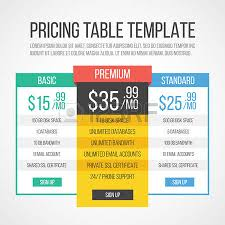 pricing table template graphic design royalty free cliparts