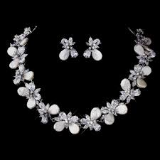 bridal necklace set pearl images Cz pearl bridal jewelry set elegant bridal hair accessories jpg