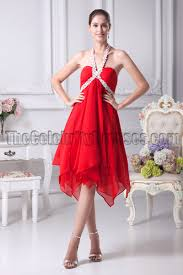 chic red chiffon a line halter cocktail party dresses