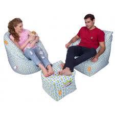 Puffy Chair Set Of 3 Digital Printed Big Boss Chair Arm Chair Puffy