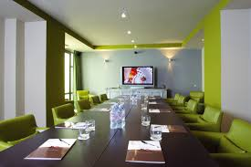 meeting room decoration with black glass and green phospor