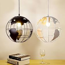Globe Light Fixtures Retro Indoor Lighting Vintage Pendant Lights Globe Iron Cage