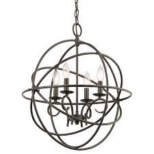 shop kichler vivian 19 02 in 4 light olde bronze globe chandelier