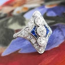 vintage diamond sapphire ring art deco 1930 u0027s old european cut