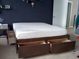 Modern Bed Frame Diy Bedroom Cal King Bed Frame With White Curtain And Grey Carpet