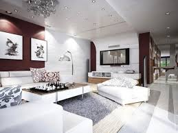 amazing modern living in a wonderful apartment with luxurious amusing wall tv in alluring modern apartment decor with fetching floor tile design