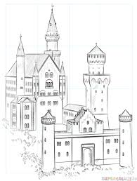 how to draw the neuschwanstein castle step by step drawing tutorials
