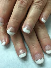 short nails sparkled u0026 pearlized white french gel polish over non
