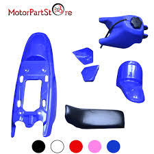 blue plastic fender parts kit with blue fuel tank and black seat