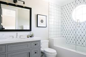 black and white bathroom with steel shower doors contemporary