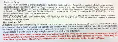 lexus extended warranty cost lexus to pay for cracked dashboard repairs