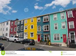 colourful salt box homes in the quidi vidi district of st johns