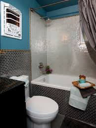 alluring glass tile back splash in bathroom with gray ocean subway