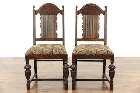 sold oak pair english tudor 1920 u0027s antique dining or side chairs