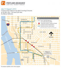 Portland Bridges Map by Se Portland Light Rail Construction Requires Detours July 15