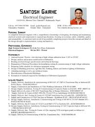 Testing Resume For 1 Year Experience Electrical Engineer Cv Sample Electrical Substation Electricity