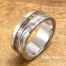 silver wood rings images Koa wood wedding rings available in tungsten titanium sterling jpg