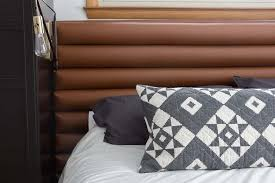 diy faux leather channel tufted headboard bright green door