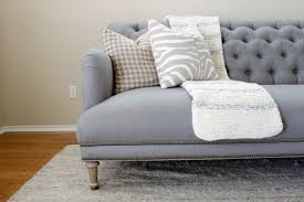 linen orianna sofa anthropologie grey gray tufted english roll arm