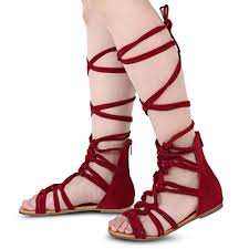 online buy wholesale sueded knee high gladiator sandals from china