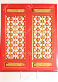 the red window with gold texture in chinese style stock photo