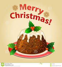 christmas homemade pudding with christmas decorations stock vector