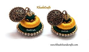 thread earrings green yellow silk thread earrings khushi handicrafts