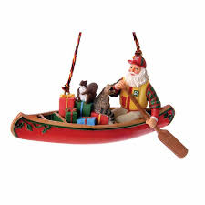 santa canoe ornament outdoor gifts outdoor themed ornaments