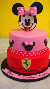 two tier round birthday cake pink red minnie mouse ferrari the