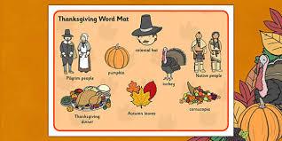 thanksgiving word mat mats words literacy thanks giving