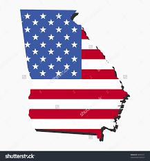 Georgian Flag On Us Map Clipart