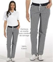 pantalon cuisine noir de cuisine femme ceinture en maille noir et blanc pepita