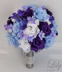 wedding flowers blue and white 17 package bridal wedding bouquets silk flowers