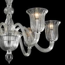 Murano Blown Glass Chandelier W83173c31 Cl Murano Venetian Style 6 Light Blown Glass In Clear