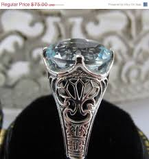 on sale natural aquamarine sterling silver filigree engagement